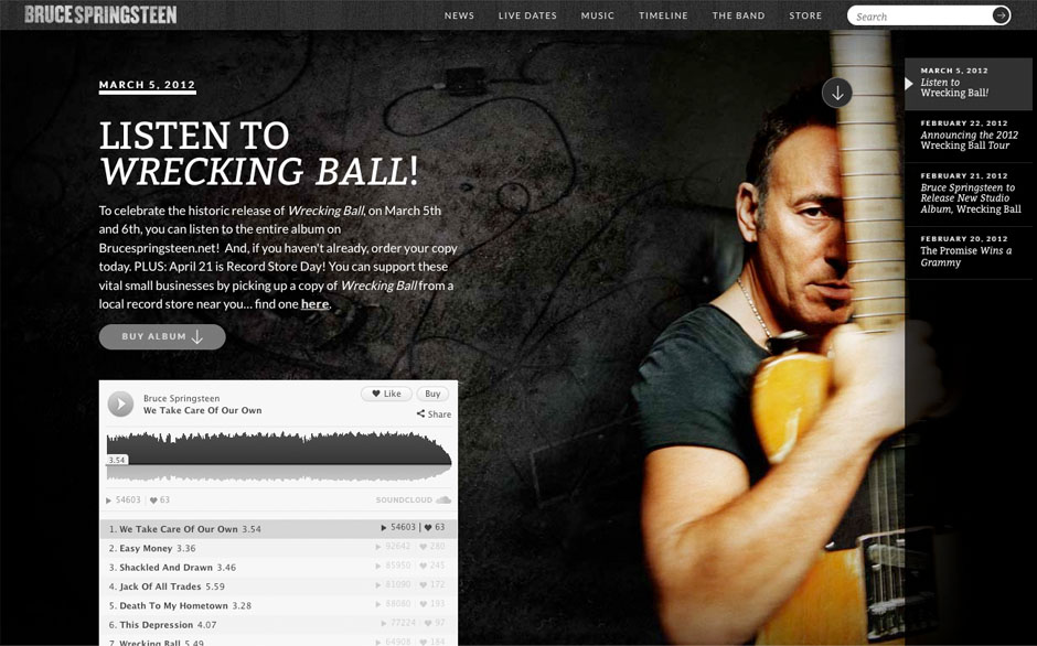 Bruce Springsteen's new site</a>