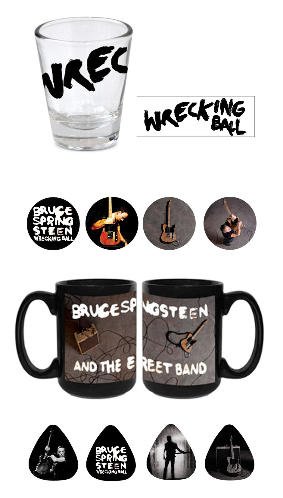 Shot glass, pin, mug and guitar picks