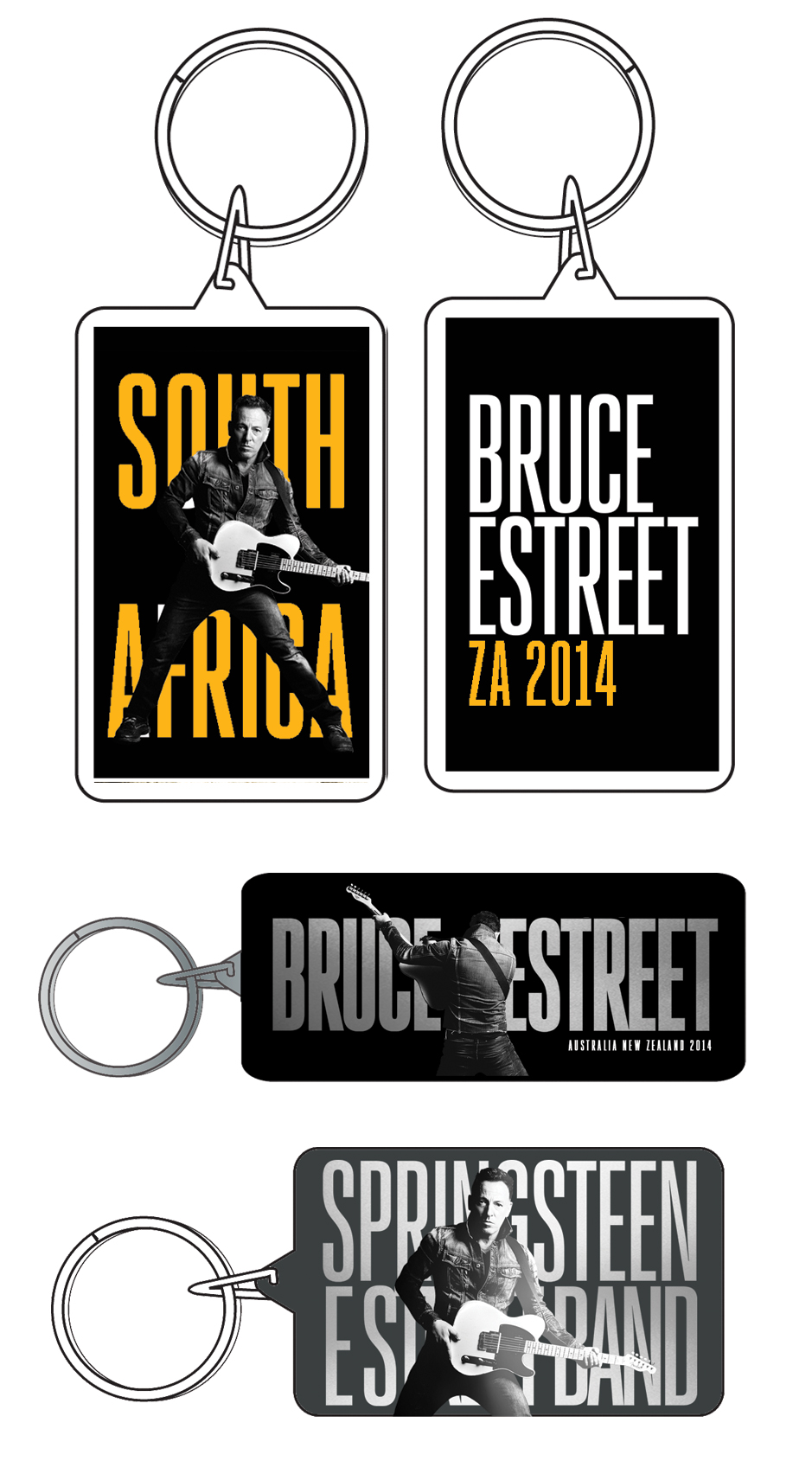 South Africa,  Australia and US key chains